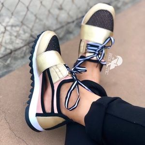 Trendy Gold and pink Mesh side cutout Sneakers
